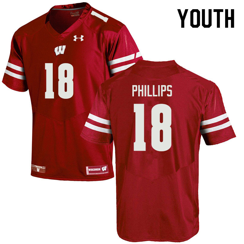 Youth #18 Cam Phillips Wisconsin Badgers College Football Jerseys Sale-Red